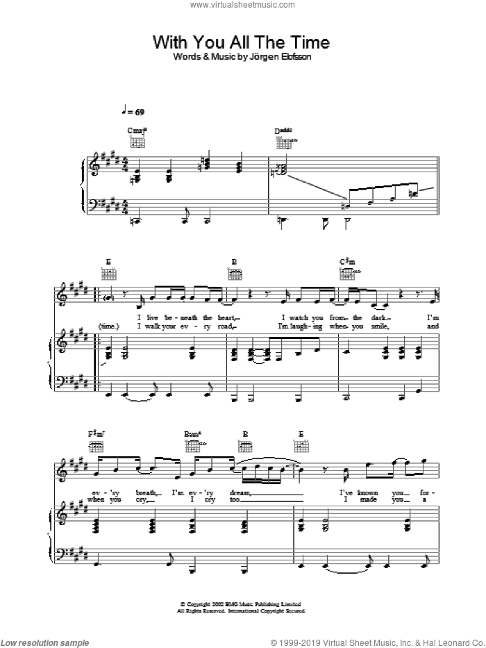 With You All The Time sheet music for voice, piano or guitar by Gareth Gates, intermediate. Score Image Preview.
