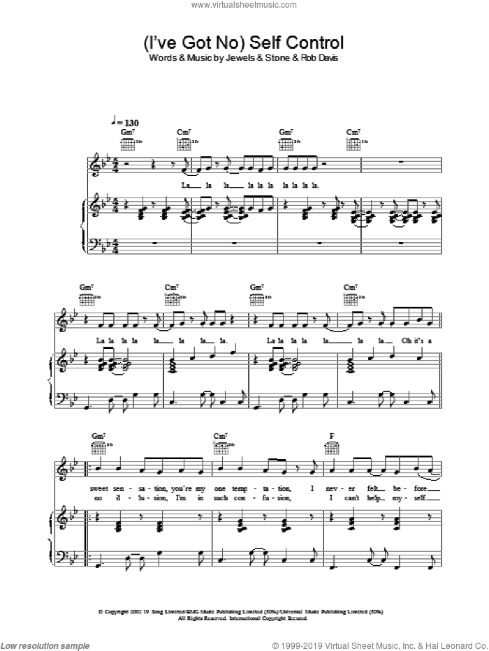(I've Got No) Self Control sheet music for voice, piano or guitar by Gareth Gates, intermediate voice, piano or guitar. Score Image Preview.