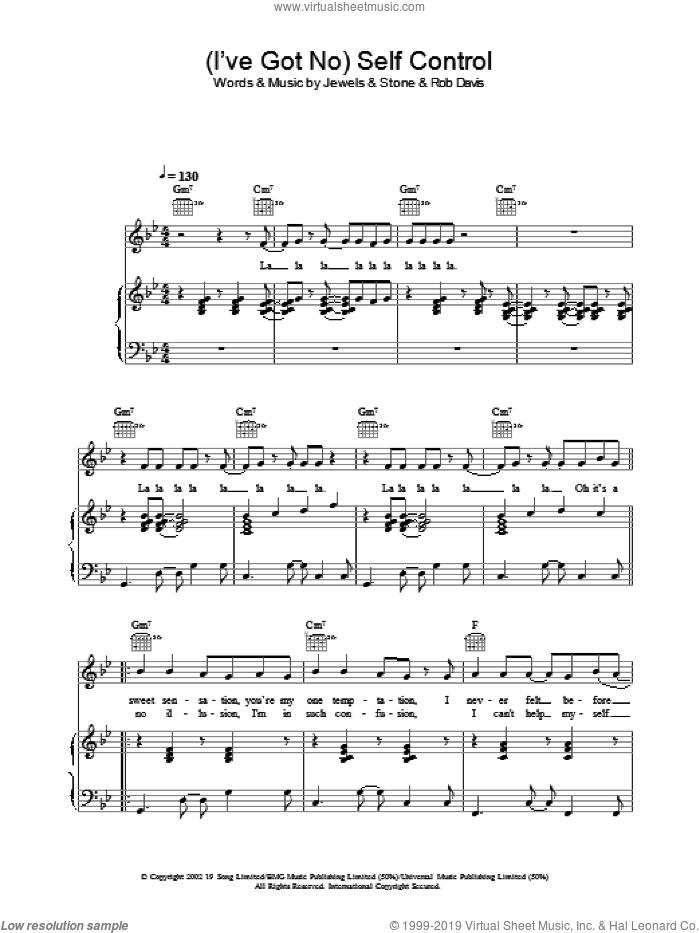 (I've Got No) Self Control sheet music for voice, piano or guitar by Gareth Gates, intermediate skill level