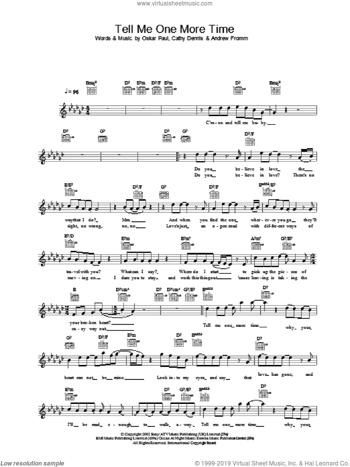 Tell Me One More Time sheet music for voice and other instruments (fake book) by Gareth Gates
