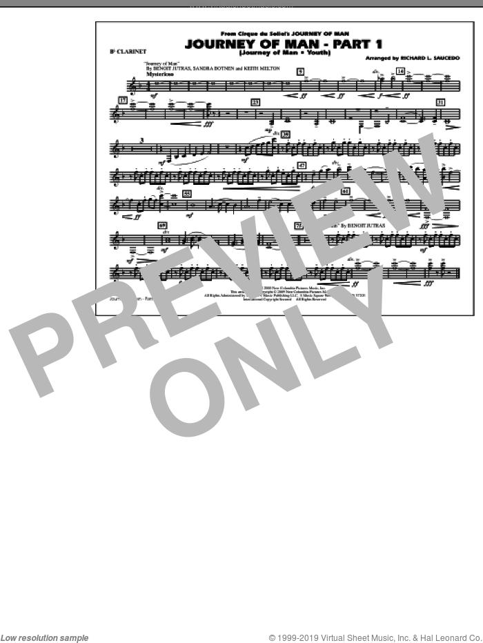 Journey of Man, part 1 (journey of man: youth) sheet music for marching band (Bb clarinet) by Richard L. Saucedo, Benoit Jutras, Keith Melton and Sandra Botnen, intermediate skill level