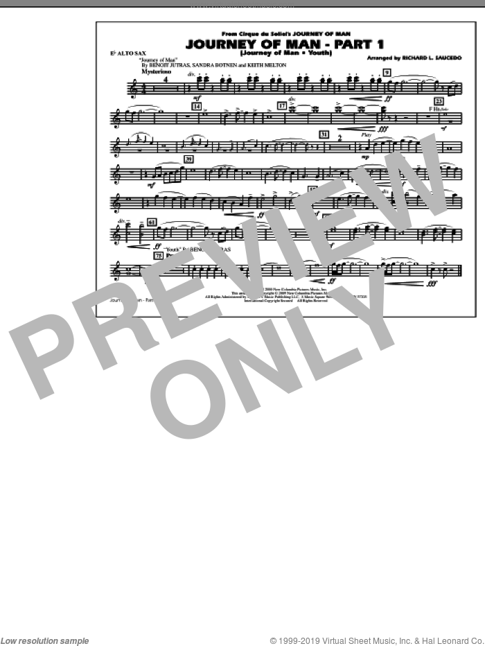 Journey of Man, part 1 (journey of man: youth) sheet music for marching band (Eb alto sax) by Benoit Jutras