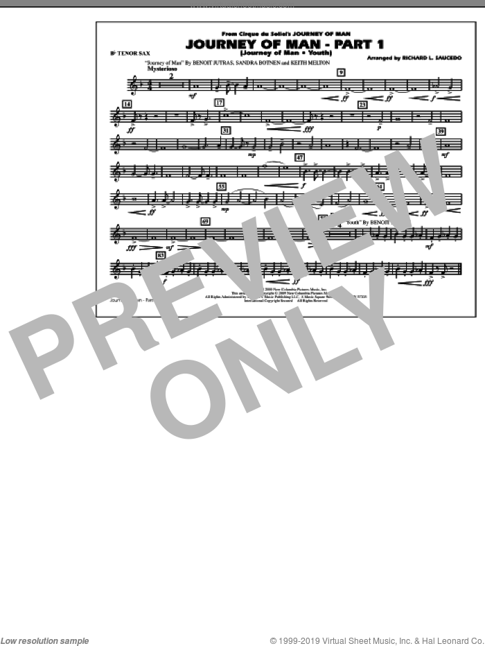 Journey of Man, part 1 (journey of man: youth) sheet music for marching band (Bb tenor sax) by Benoit Jutras