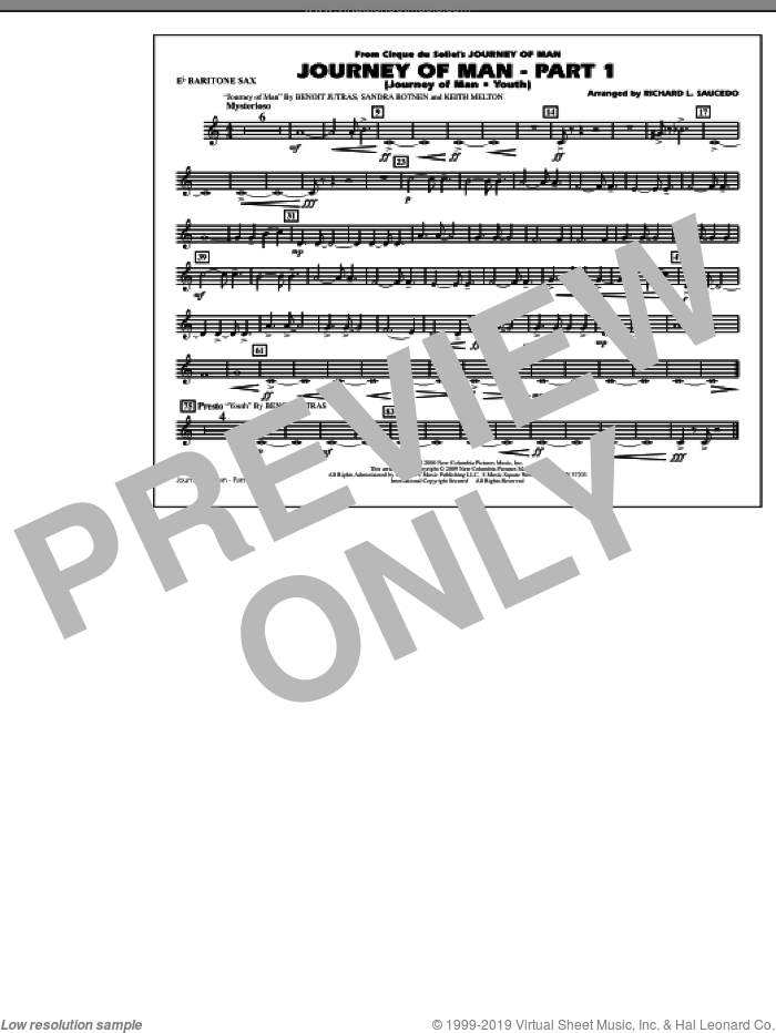 Journey of Man, part 1 (journey of man: youth) sheet music for marching band (Eb baritone sax) by Richard L. Saucedo, Benoit Jutras, Keith Melton and Sandra Botnen, intermediate skill level