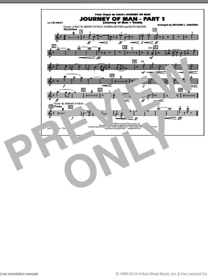 Journey of Man, part 1 (journey of man: youth) sheet music for marching band (1st Bb trumpet) by Benoit Jutras, Keith Melton, Sandra Botnen and Richard L. Saucedo, intermediate skill level