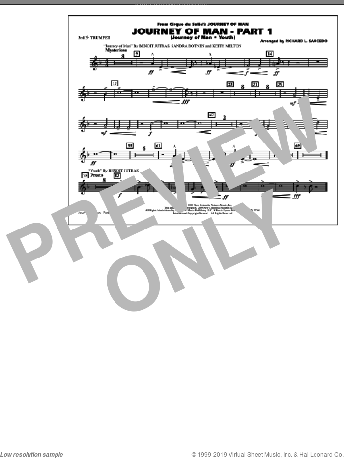 Journey of Man, part 1 (journey of man: youth) sheet music for marching band (3rd Bb trumpet) by Richard L. Saucedo, Benoit Jutras, Keith Melton and Sandra Botnen, intermediate skill level