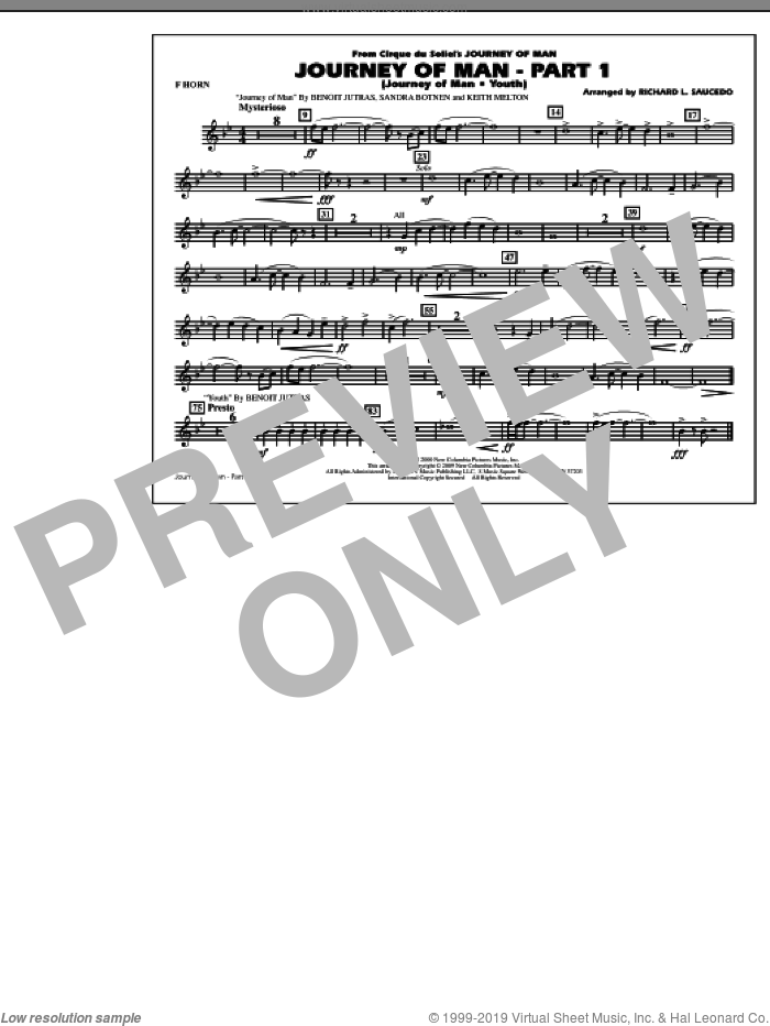 Journey of Man, part 1 (journey of man: youth) sheet music for marching band (f horn) by Benoit Jutras