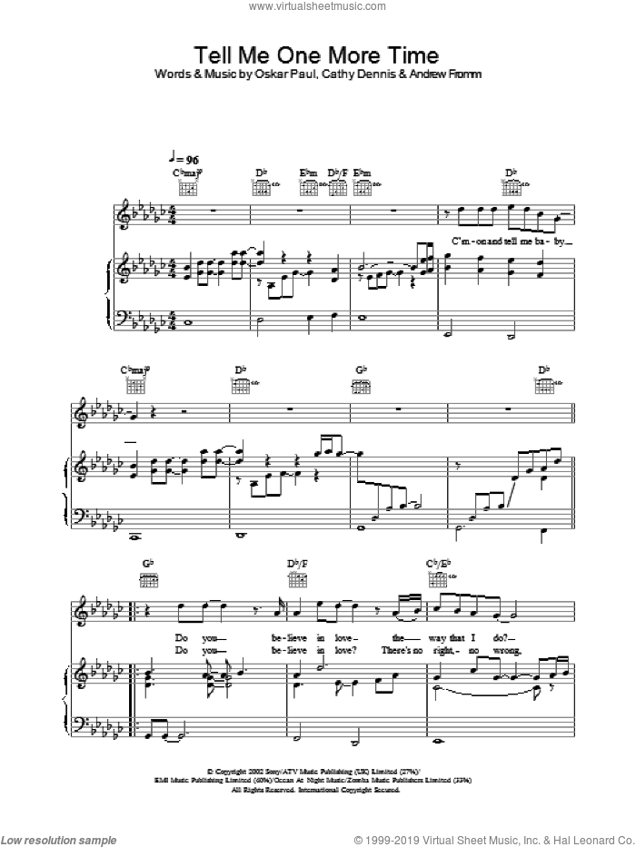 Tell Me One More Time sheet music for voice, piano or guitar by Gareth Gates. Score Image Preview.