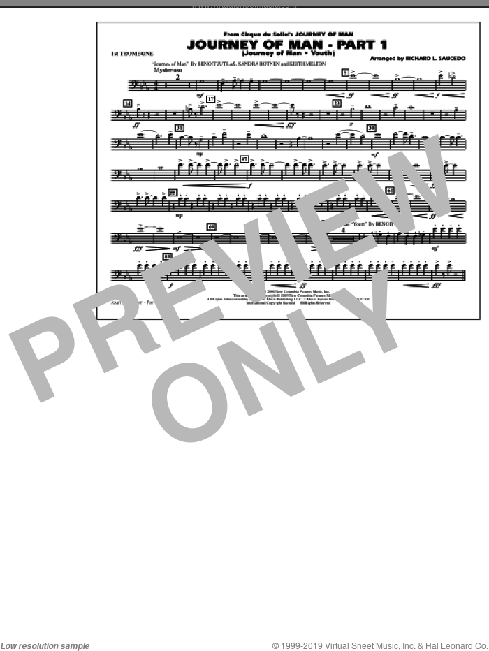 Journey of Man, part 1 (journey of man: youth) sheet music for marching band (1st trombone) by Benoit Jutras