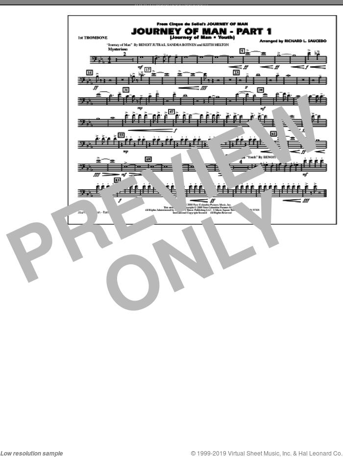 Journey of Man, part 1 (journey of man: youth) sheet music for marching band (1st trombone) by Richard L. Saucedo, Benoit Jutras, Keith Melton and Sandra Botnen, intermediate skill level