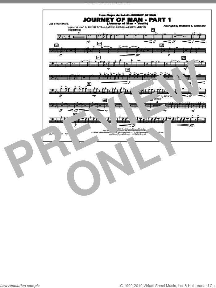 Journey of Man, part 1 (journey of man: youth) sheet music for marching band (2nd trombone) by Richard L. Saucedo, Benoit Jutras, Keith Melton and Sandra Botnen, intermediate skill level