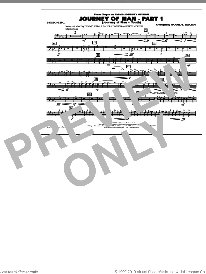 Journey of Man, part 1 (journey of man: youth) sheet music for marching band (baritone b.c.) by Richard L. Saucedo, Benoit Jutras, Keith Melton and Sandra Botnen, intermediate skill level