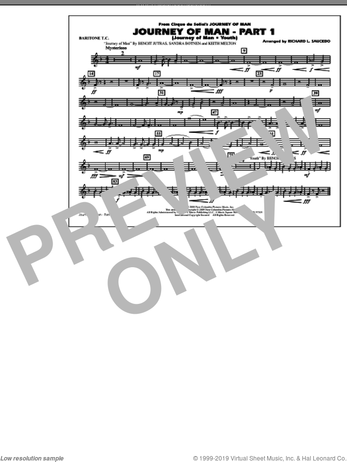 Journey of Man, part 1 (journey of man: youth) sheet music for marching band (baritone t.c.) by Richard L. Saucedo, Benoit Jutras, Keith Melton and Sandra Botnen, intermediate skill level