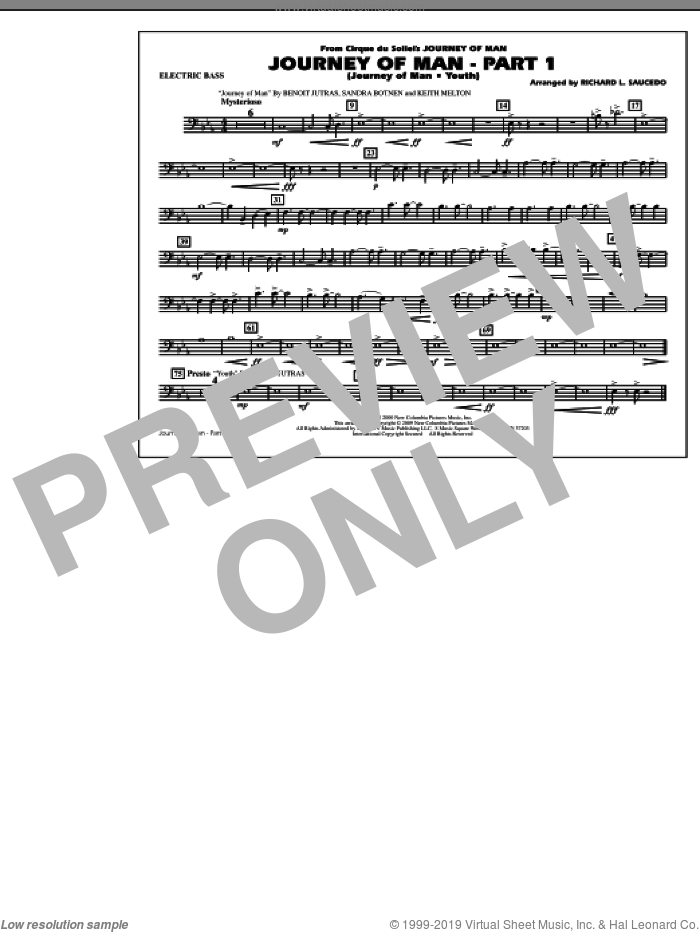 Journey of Man, part 1 (journey of man: youth) sheet music for marching band (electric bass) by Richard L. Saucedo, Benoit Jutras, Keith Melton and Sandra Botnen, intermediate skill level