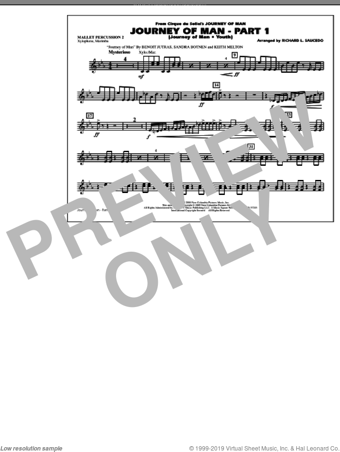 Journey of Man, part 1 (journey of man: youth) sheet music for marching band (mallet percussion 2) by Richard L. Saucedo, Benoit Jutras, Keith Melton and Sandra Botnen, intermediate skill level