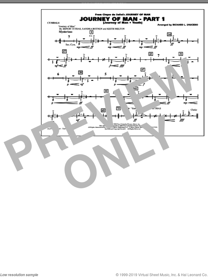 Journey of Man, part 1 (journey of man: youth) sheet music for marching band (cymbals) by Richard L. Saucedo, Benoit Jutras, Keith Melton and Sandra Botnen, intermediate skill level