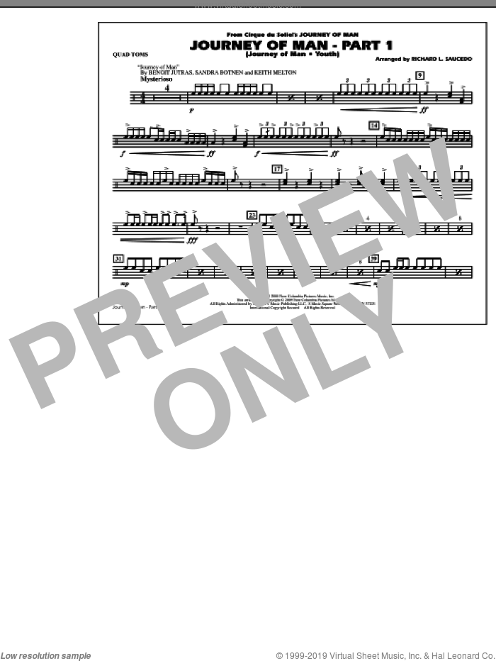 Journey of Man, part 1 (journey of man: youth) sheet music for marching band (quad toms) by Richard L. Saucedo, Benoit Jutras, Keith Melton and Sandra Botnen, intermediate skill level