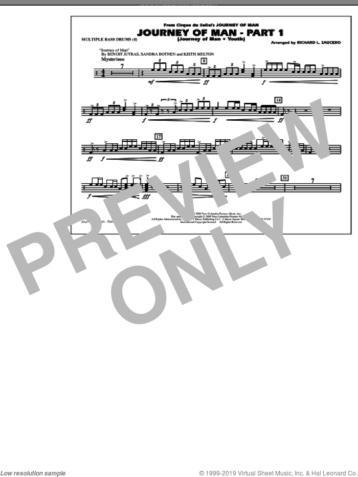 Journey of Man, part 1 (journey of man: youth) sheet music for marching band (multiple bass drums) by Benoit Jutras