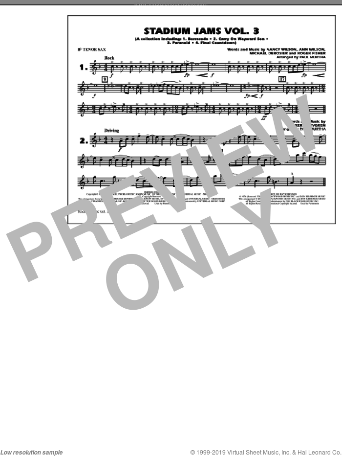 Stadium Jams, volume 3 sheet music for marching band (Bb tenor sax) by Paul Murtha, intermediate skill level