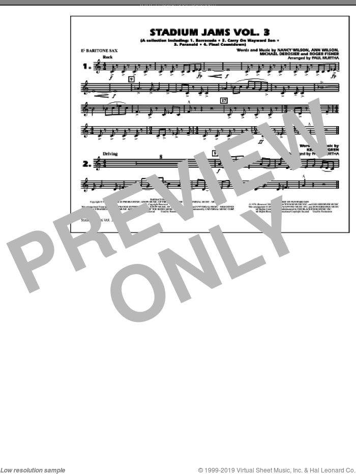 Stadium Jams, volume 3 sheet music for marching band (Eb baritone sax) by Paul Murtha