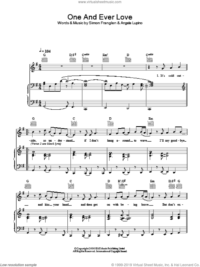 One And Ever Love sheet music for voice, piano or guitar by Gareth Gates. Score Image Preview.