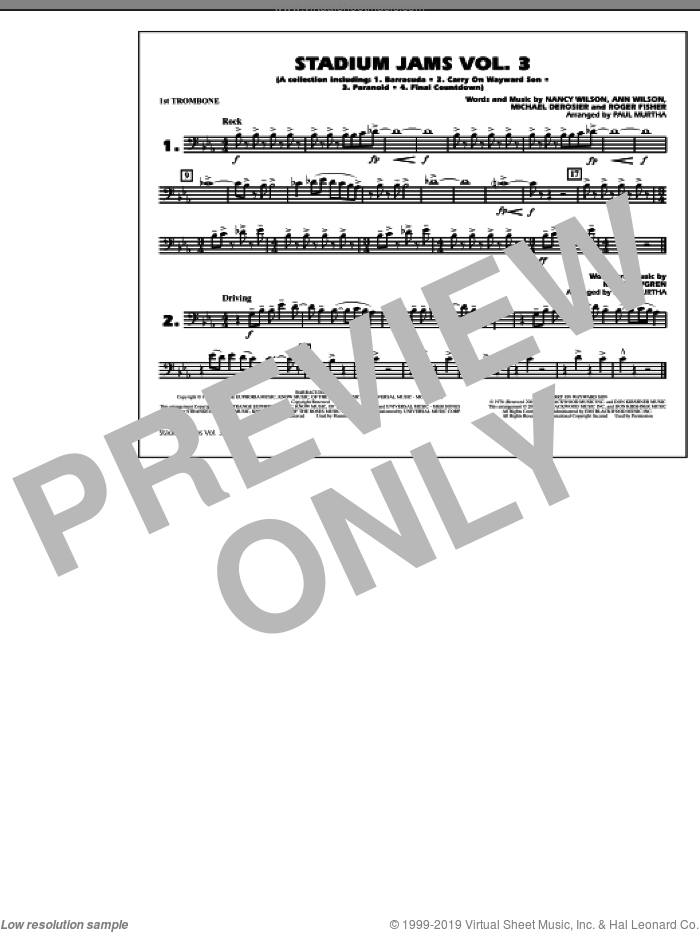Stadium Jams, volume 3 sheet music for marching band (1st trombone) by Paul Murtha