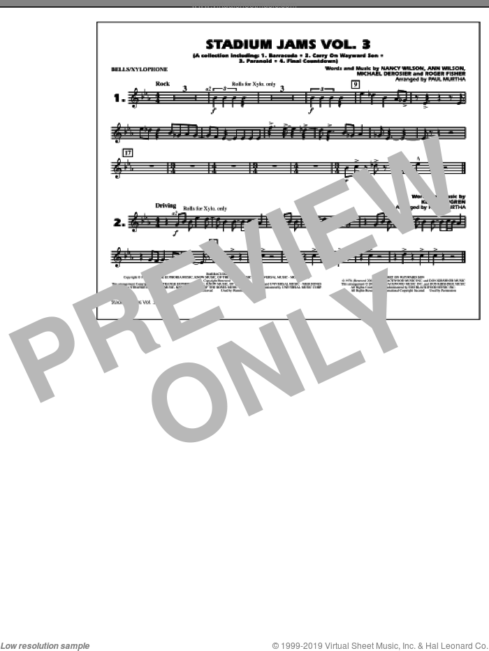 Stadium Jams, volume 3 sheet music for marching band (bells/xylophone) by Paul Murtha, intermediate skill level