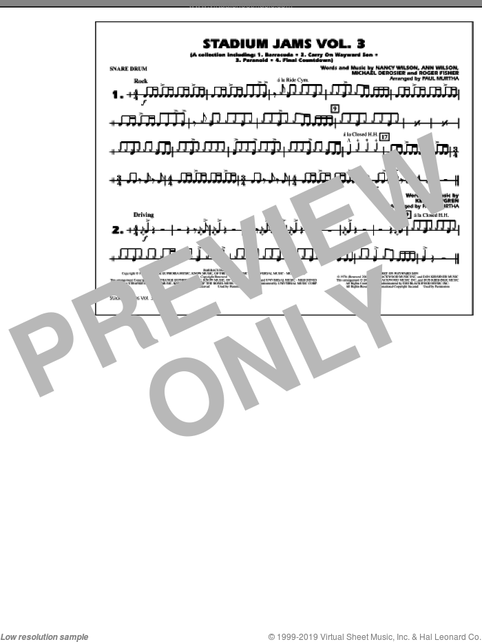 Stadium Jams, volume 3 sheet music for marching band (snare drum) by Paul Murtha, intermediate skill level