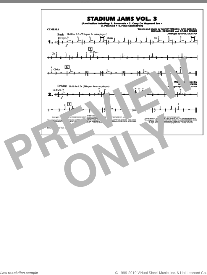 Stadium Jams, volume 3 sheet music for marching band (cymbals) by Paul Murtha, intermediate skill level