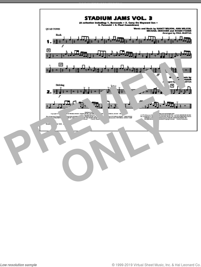 Stadium Jams, volume 3 sheet music for marching band (quad toms) by Paul Murtha