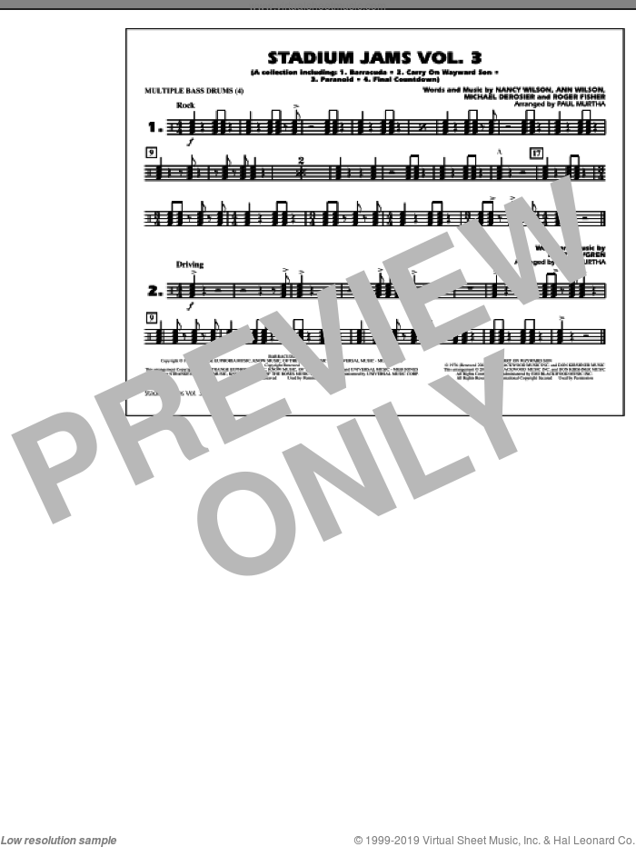 Stadium Jams, volume 3 sheet music for marching band (multiple bass drums) by Paul Murtha, intermediate skill level