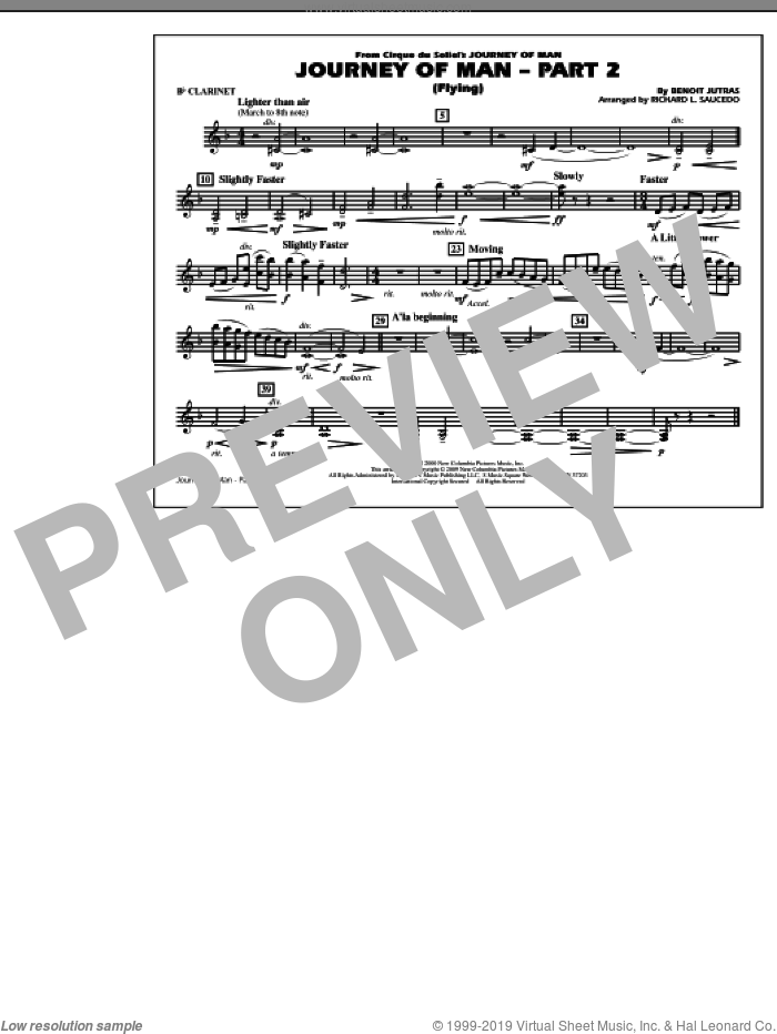 Journey of Man, part 2 (flying) sheet music for marching band (Bb clarinet) by Richard L. Saucedo and Benoit Jutras, intermediate skill level