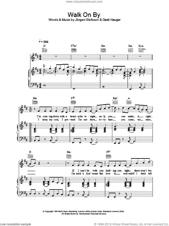 Walk On By sheet music for voice, piano or guitar by Gareth Gates. Score Image Preview.
