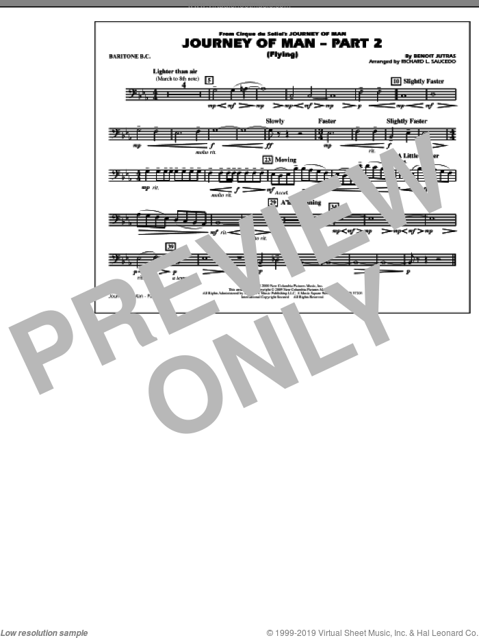 Journey of Man, part 2 (flying) sheet music for marching band (baritone b.c.) by Benoit Jutras