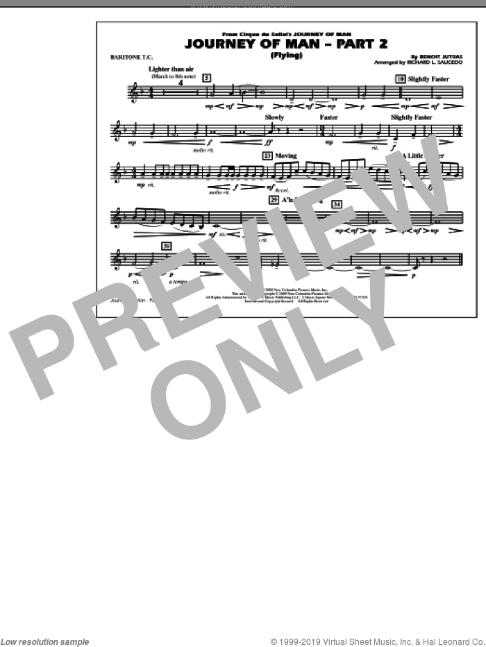 Journey of Man, part 2 (flying) sheet music for marching band (baritone t.c.) by Benoit Jutras