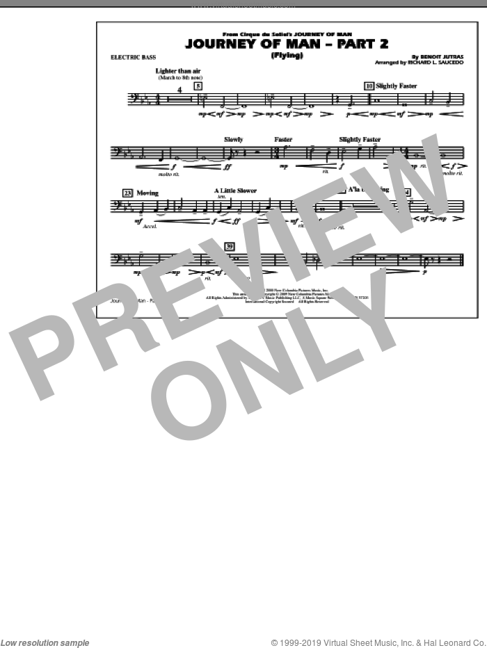 Journey of Man, part 2 (flying) sheet music for marching band (electric bass) by Benoit Jutras