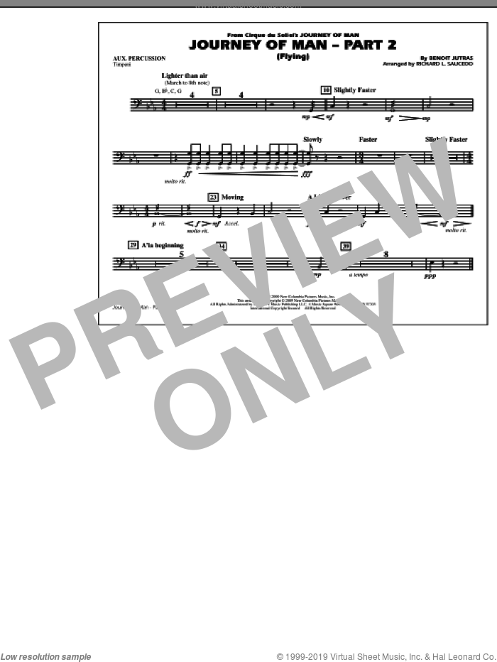 Journey of Man, part 2 (flying) sheet music for marching band (aux percussion) by Benoit Jutras