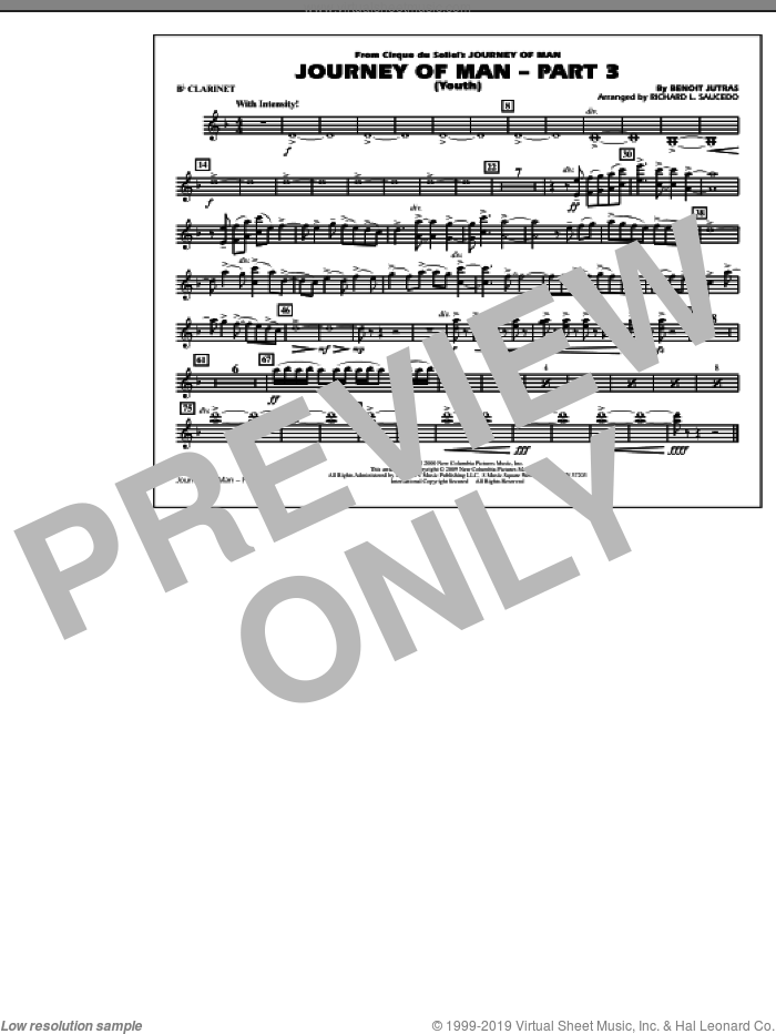Journey of Man, part 3 (youth) sheet music for marching band (Bb clarinet) by Benoit Jutras