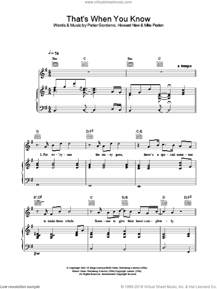 That's When You Know sheet music for voice, piano or guitar by Gareth Gates. Score Image Preview.