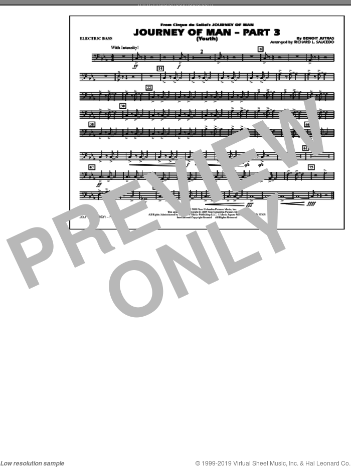 Journey of Man, part 3 (youth) sheet music for marching band (electric bass) by Benoit Jutras