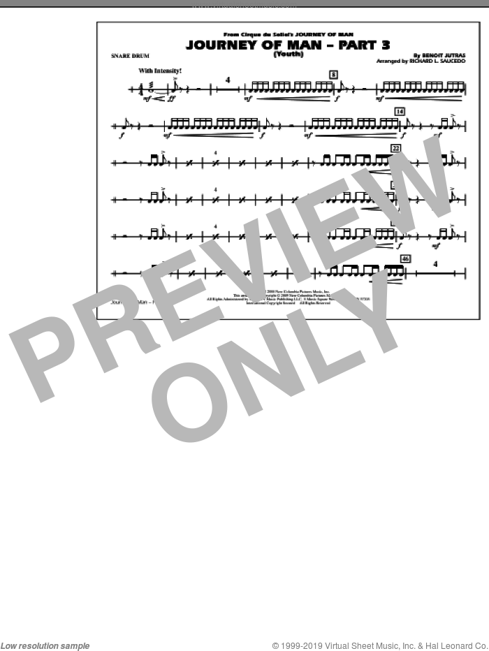 Journey of Man, part 3 (youth) sheet music for marching band (snare drum) by Benoit Jutras
