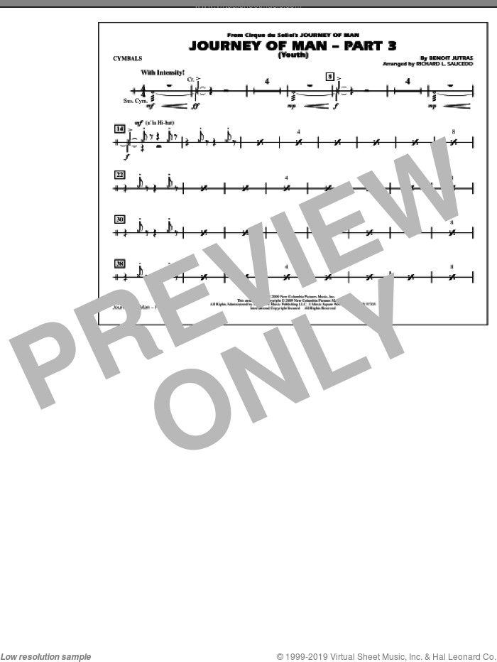 Journey of Man, part 3 (youth) sheet music for marching band (cymbals) by Benoit Jutras