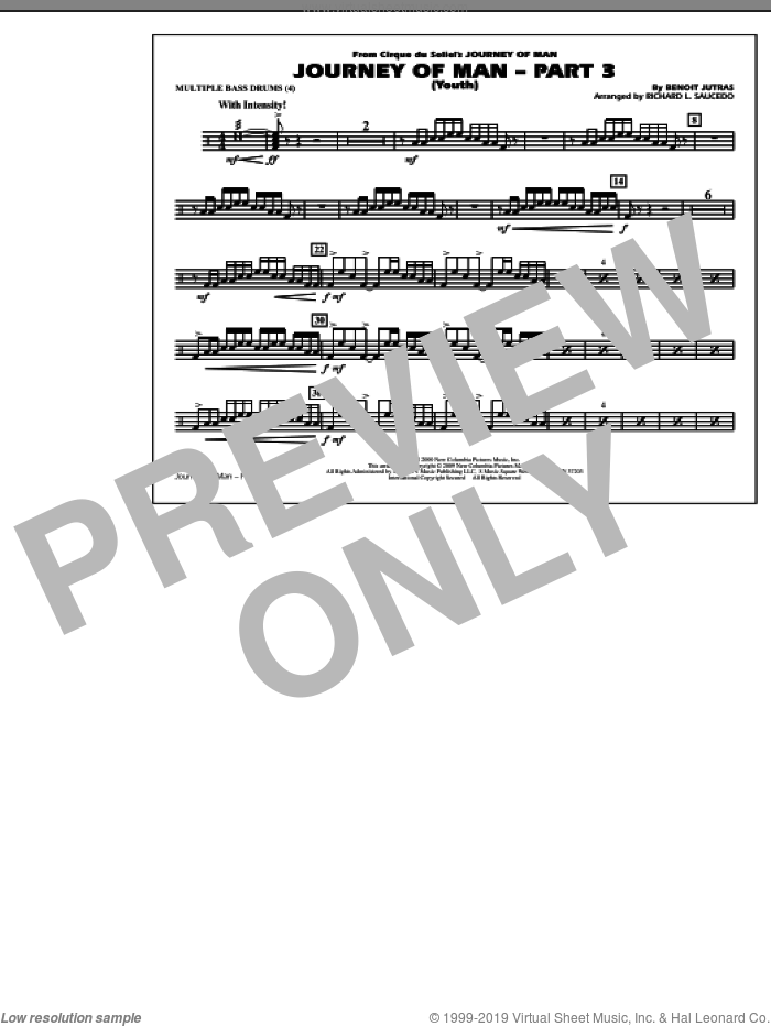Journey of Man, part 3 (youth) sheet music for marching band (multiple bass drums) by Benoit Jutras and Richard L. Saucedo, intermediate skill level
