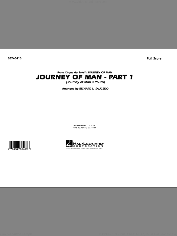 Journey of Man - Part 1 (Journey of Man: Youth) (COMPLETE) sheet music for marching band by Richard L. Saucedo, Benoit Jutras, Keith Melton and Sandra Botnen, intermediate. Score Image Preview.