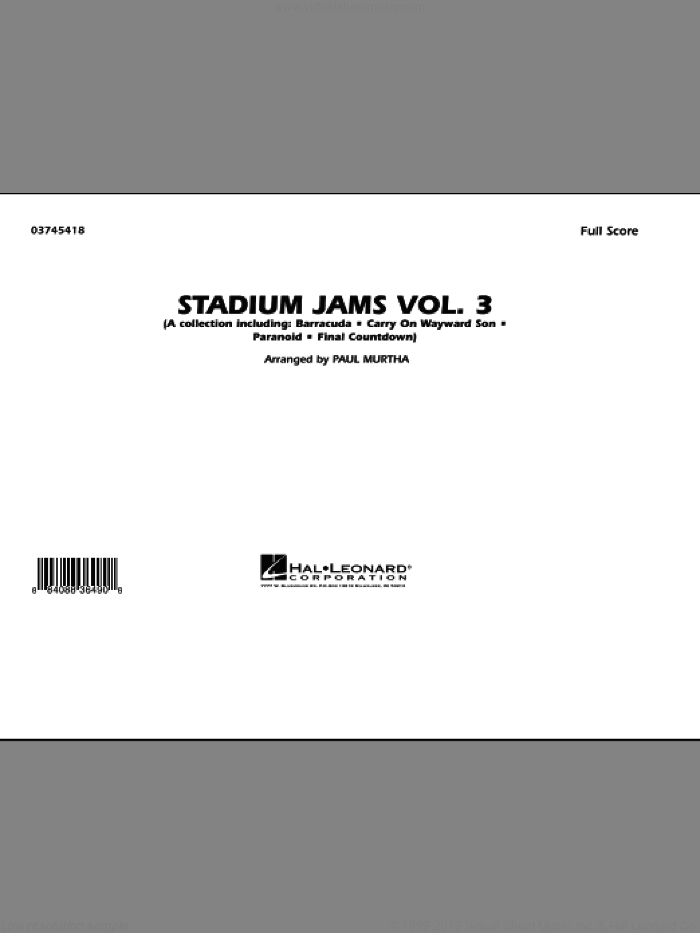 Stadium Jams - Volume 3 (COMPLETE) sheet music for marching band by Paul Murtha, intermediate marching band. Score Image Preview.
