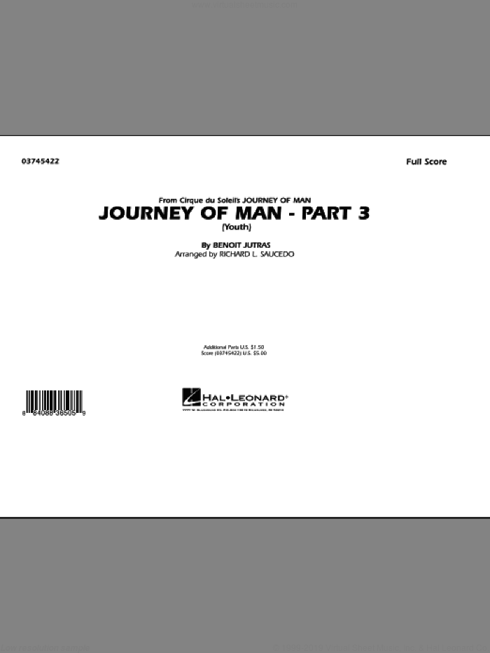 Journey of Man - Part 3 (Youth) (COMPLETE) sheet music for marching band by Richard L. Saucedo and Benoit Jutras, intermediate skill level