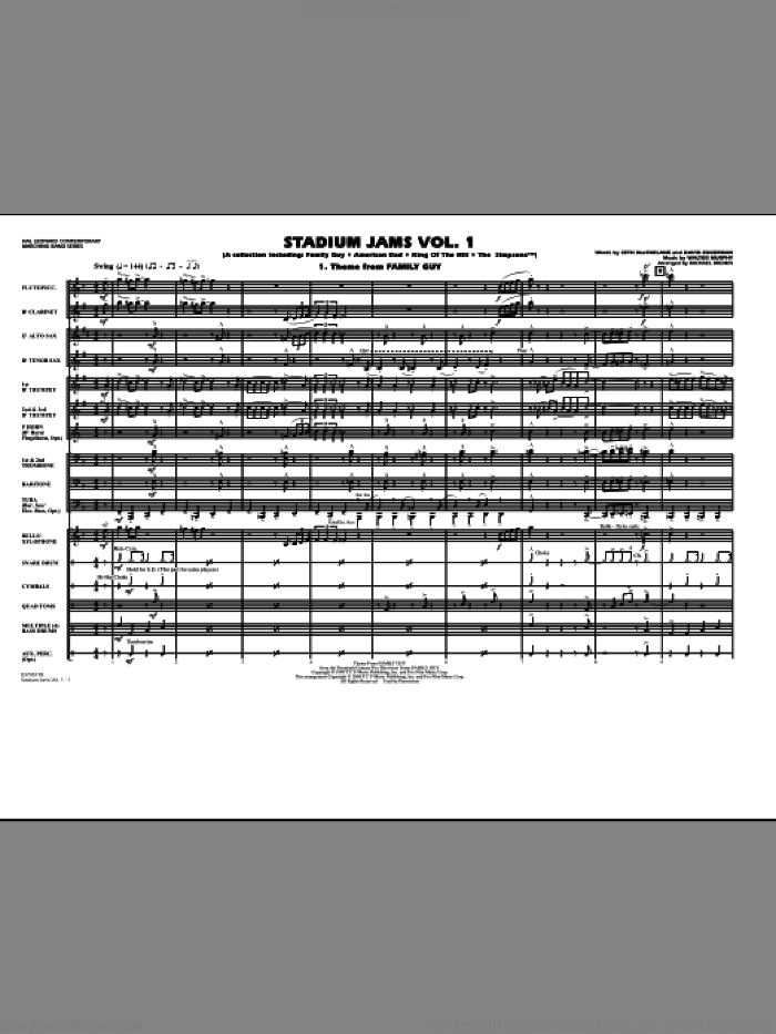 Stadium Jams, vol. 1 sheet music for marching band (full score) by Michael Brown, intermediate skill level