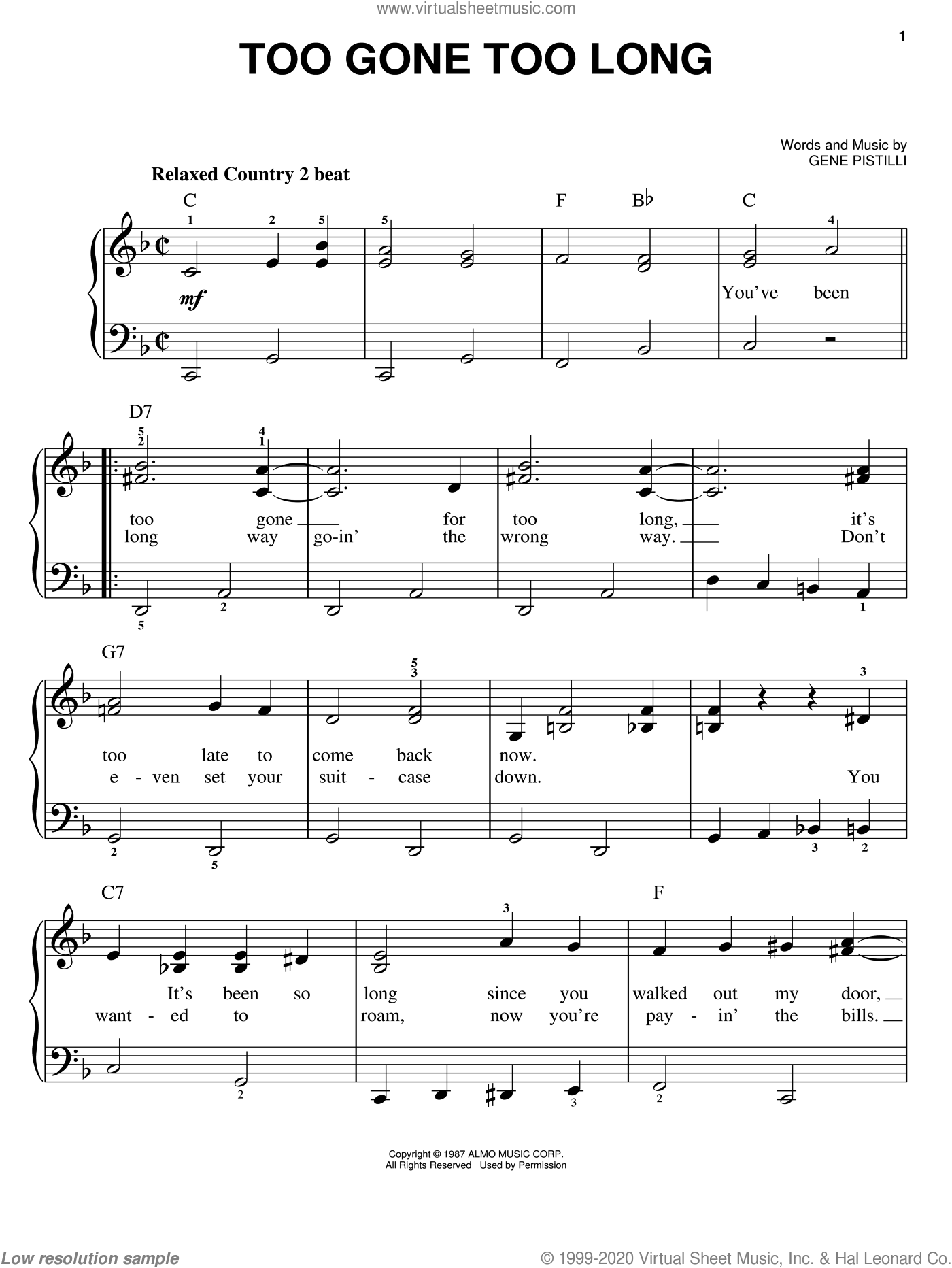 Too Gone Too Long sheet music for piano solo by Randy Travis, easy piano. Score Image Preview.