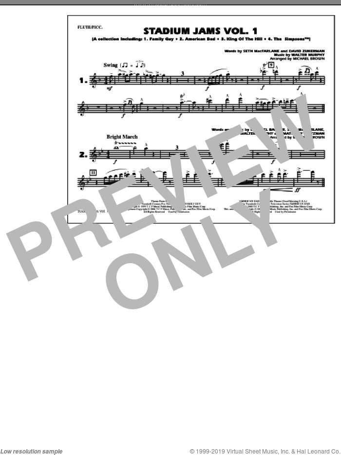 Stadium Jams, vol. 1 sheet music for marching band (flute/piccolo) by Michael Brown, intermediate skill level