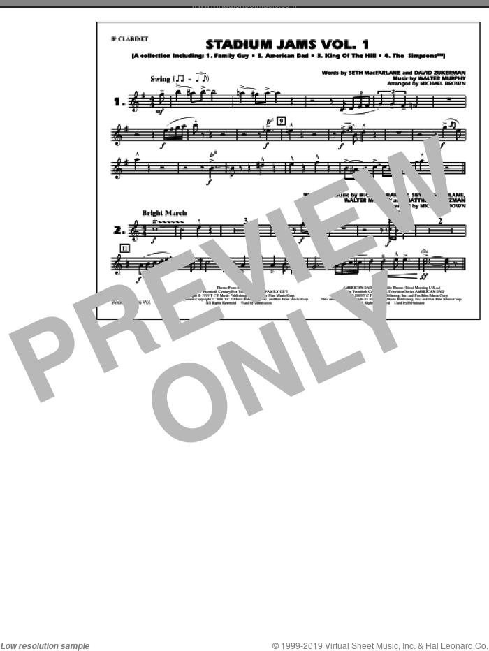 Stadium Jams, vol. 1 sheet music for marching band (Bb clarinet) by Michael Brown, intermediate marching band (Bb clarinet). Score Image Preview.